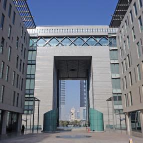 Dubai Financial District. Gate Building housing the DIFC the international finance centre
