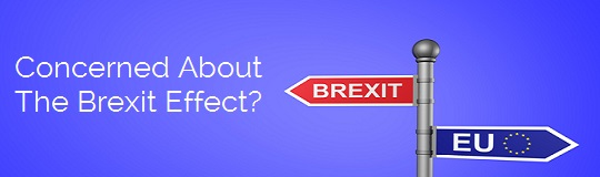 Brexit Direction Sign on a blue background