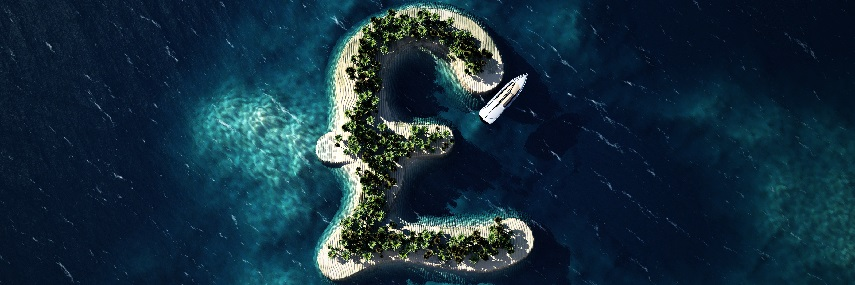 Tropical Island In The Form Of The British Pound Symbol Forth Capital