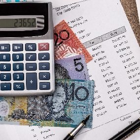 Australian Dollar With Graph Home Budget Laptop And Calculator Forth Capital